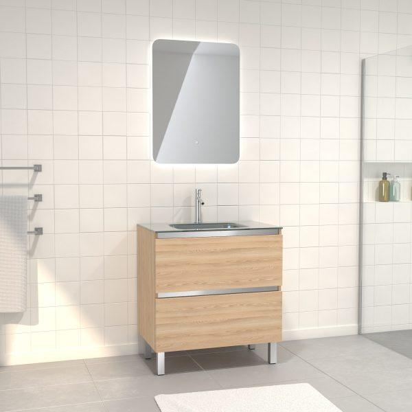 Pack Meuble de salle de bain 80x50 cm Chêne blond + vasque Argent + miroir LED 60x80