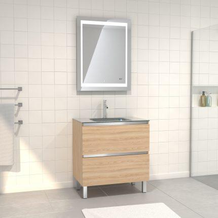 Pack Meuble de salle de bain 80x50 cm Chêne blond + vasque Argent + miroir LED 70x90