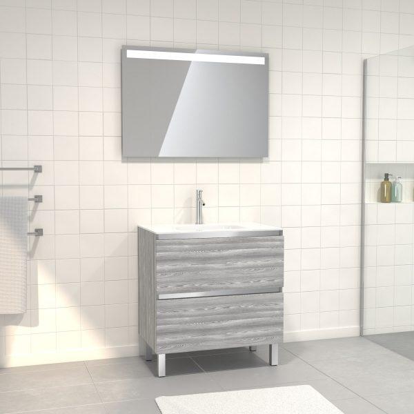 Pack Meuble de salle de bain 80x50 cm Chêne gris-blanc + vasque verre blanc + miroir LED 80x60