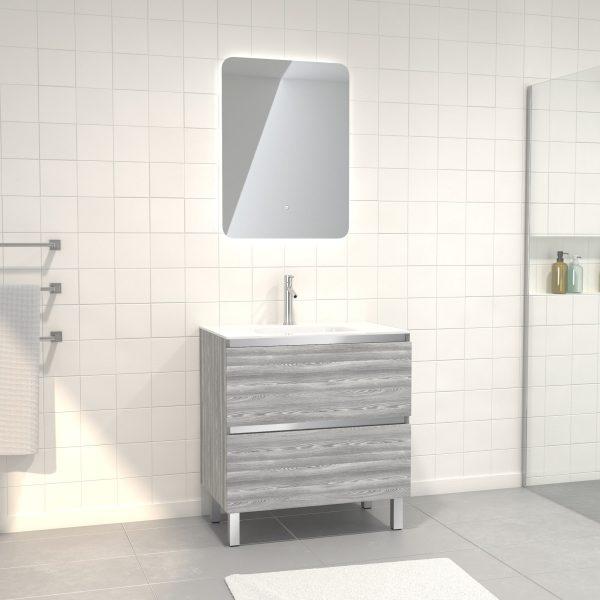 Pack Meuble de salle de bain 80x50 cm Chêne gris-blanc + vasque verre blanc + miroir LED 60x80