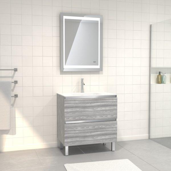 Pack Meuble de salle de bain 80x50 cm Chêne gris-blanc + vasque verre blanc + miroir LED 70x90