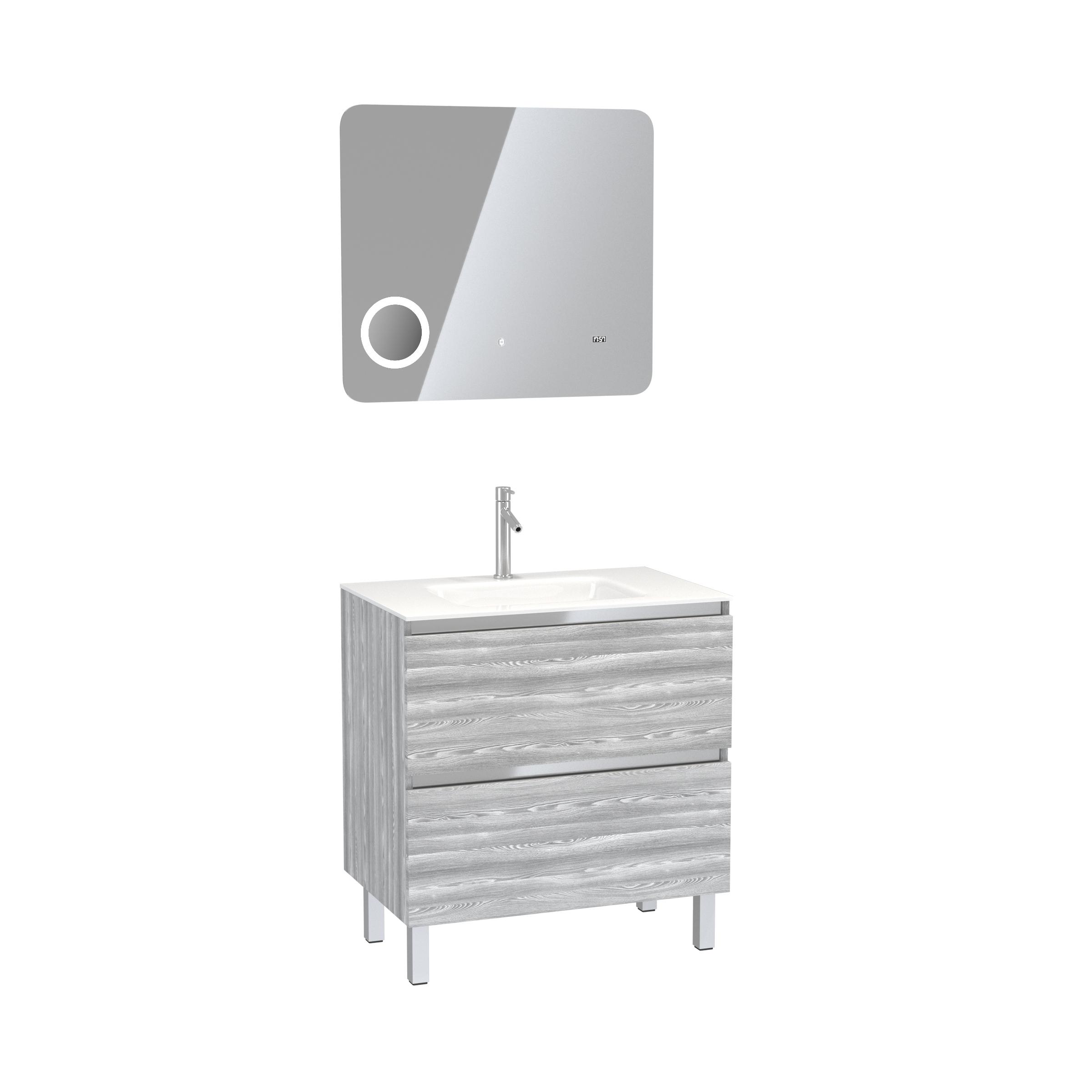 Pack Meuble de salle de bain 80x50 cm Chêne gris-blanc + vasque verre blanc + miroir LED 80x70