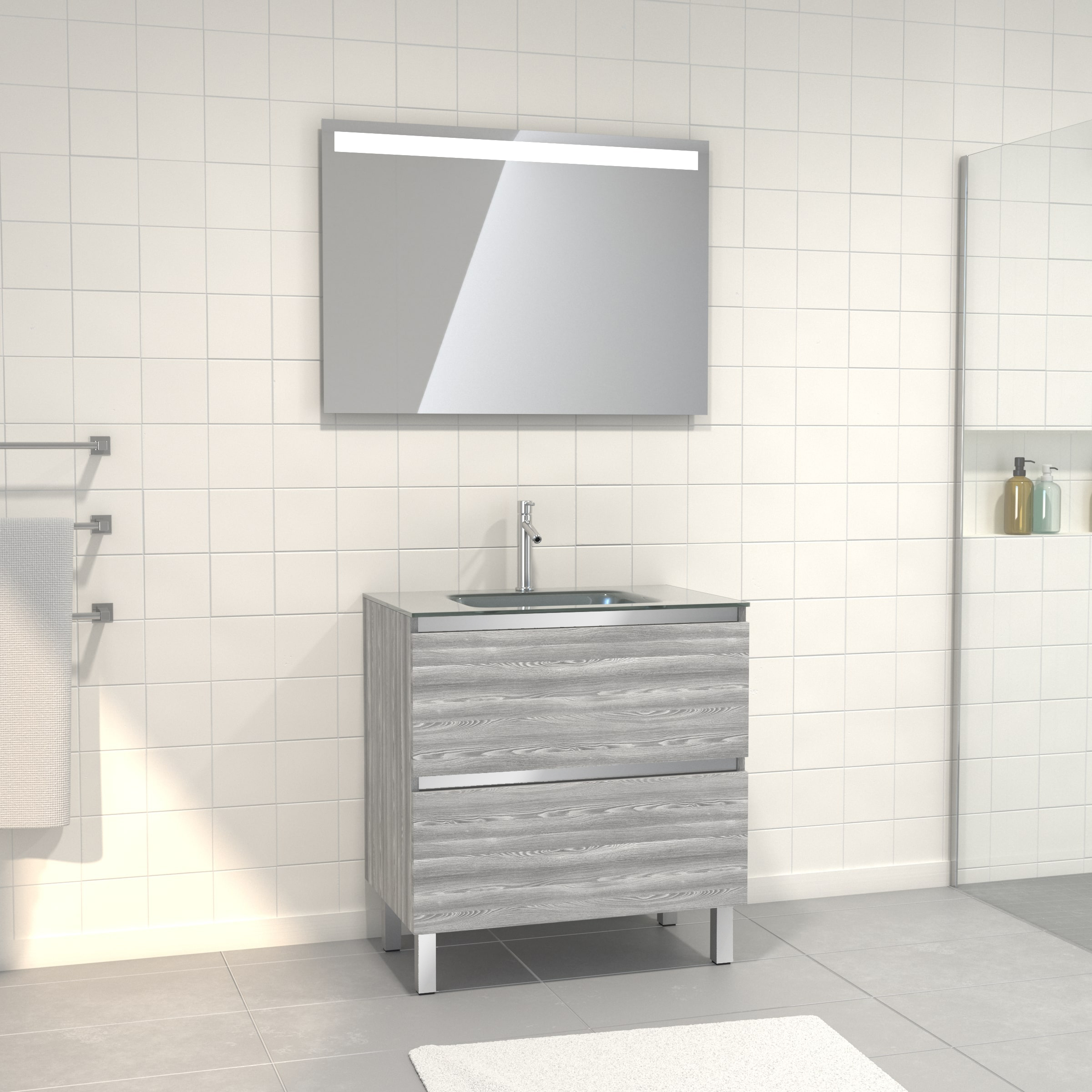 Pack Meuble de salle de bain 80x50 cm Chêne gris-blanc + vasque Argent + miroir LED 80x60