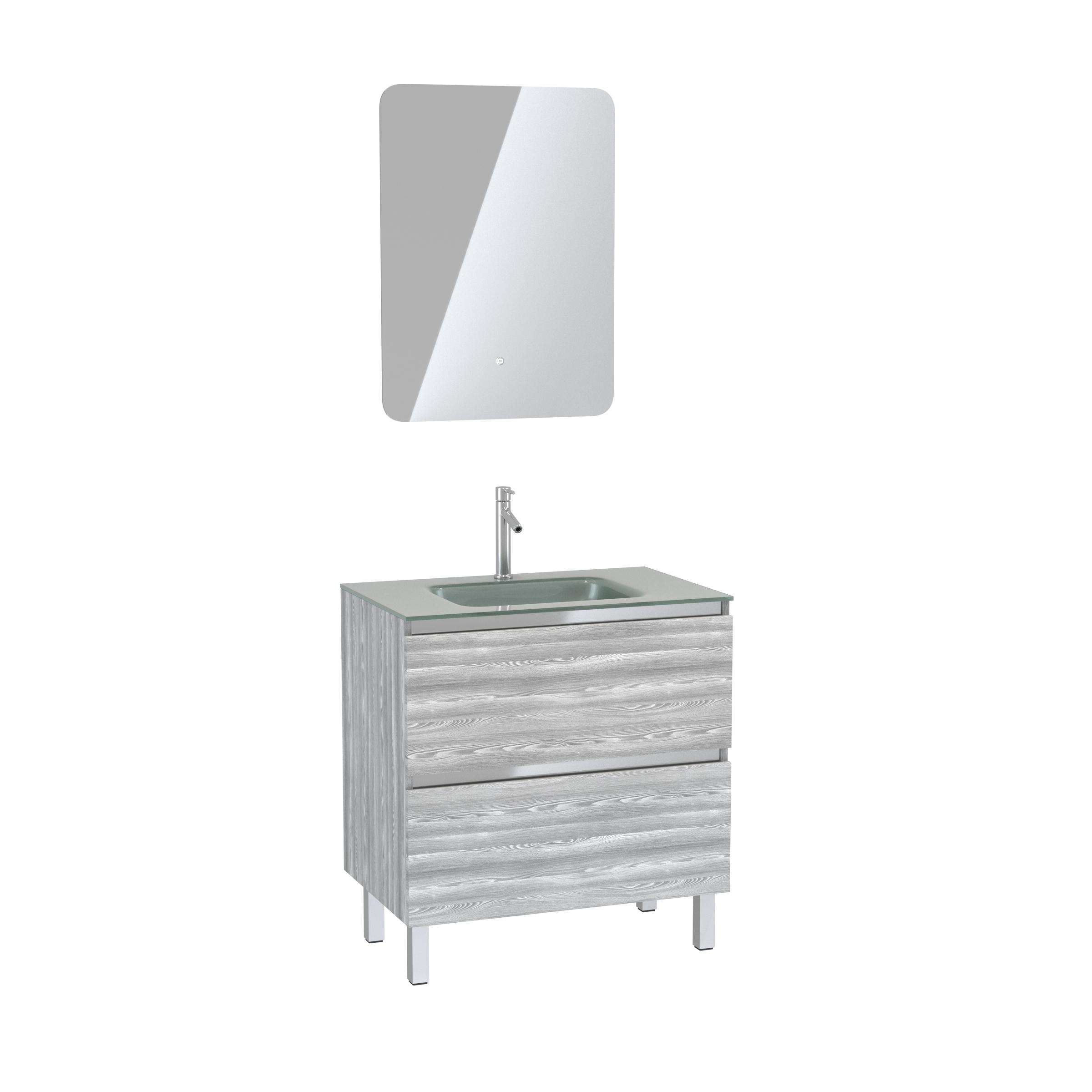 Pack Meuble de salle de bain 80x50 cm Chêne gris-blanc + vasque Argent + miroir LED 60x80