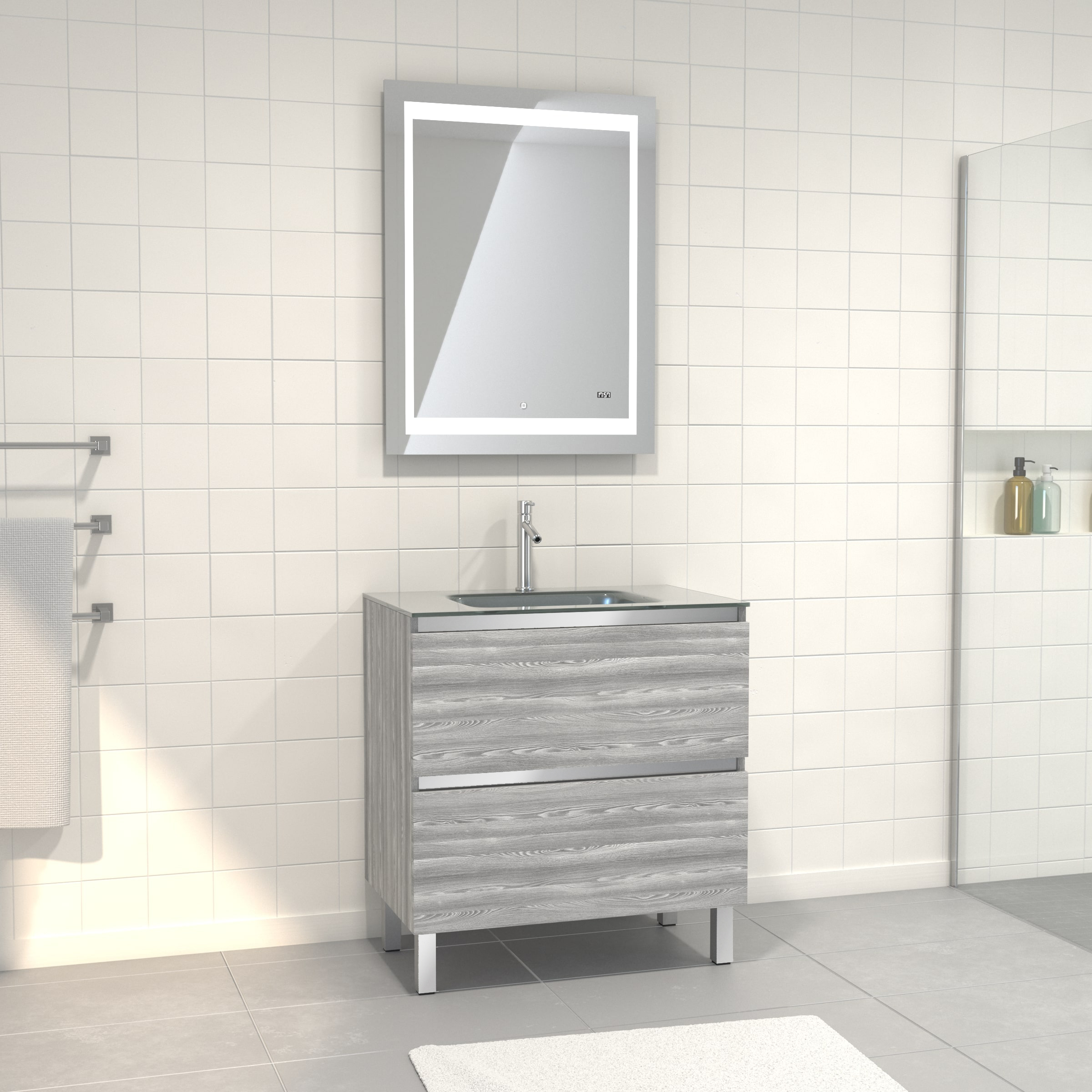 Pack Meuble de salle de bain 80x50 cm Chêne gris-blanc + vasque Argent + miroir LED 70x90