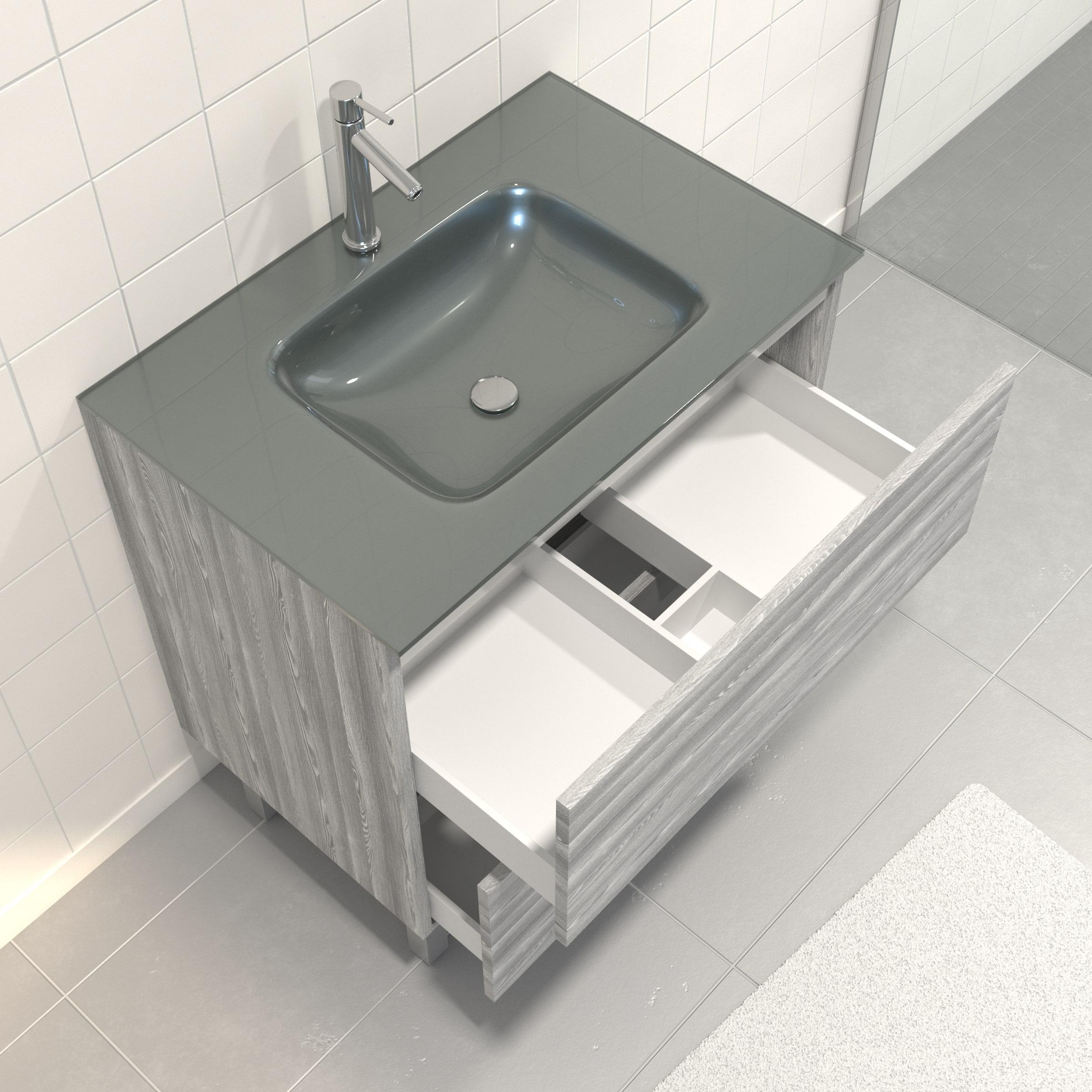 Pack Meuble de salle de bain 80x50 cm Chêne gris-blanc + vasque Argent + miroir LED 80x70