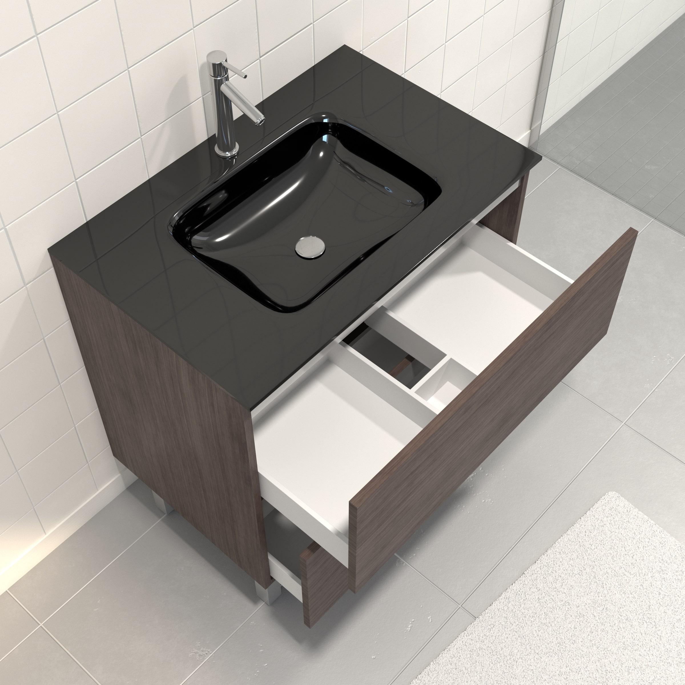 Pack Meuble de salle de bain 80x50 cm Graphite + vasque verre noir + miroir LED 80x60