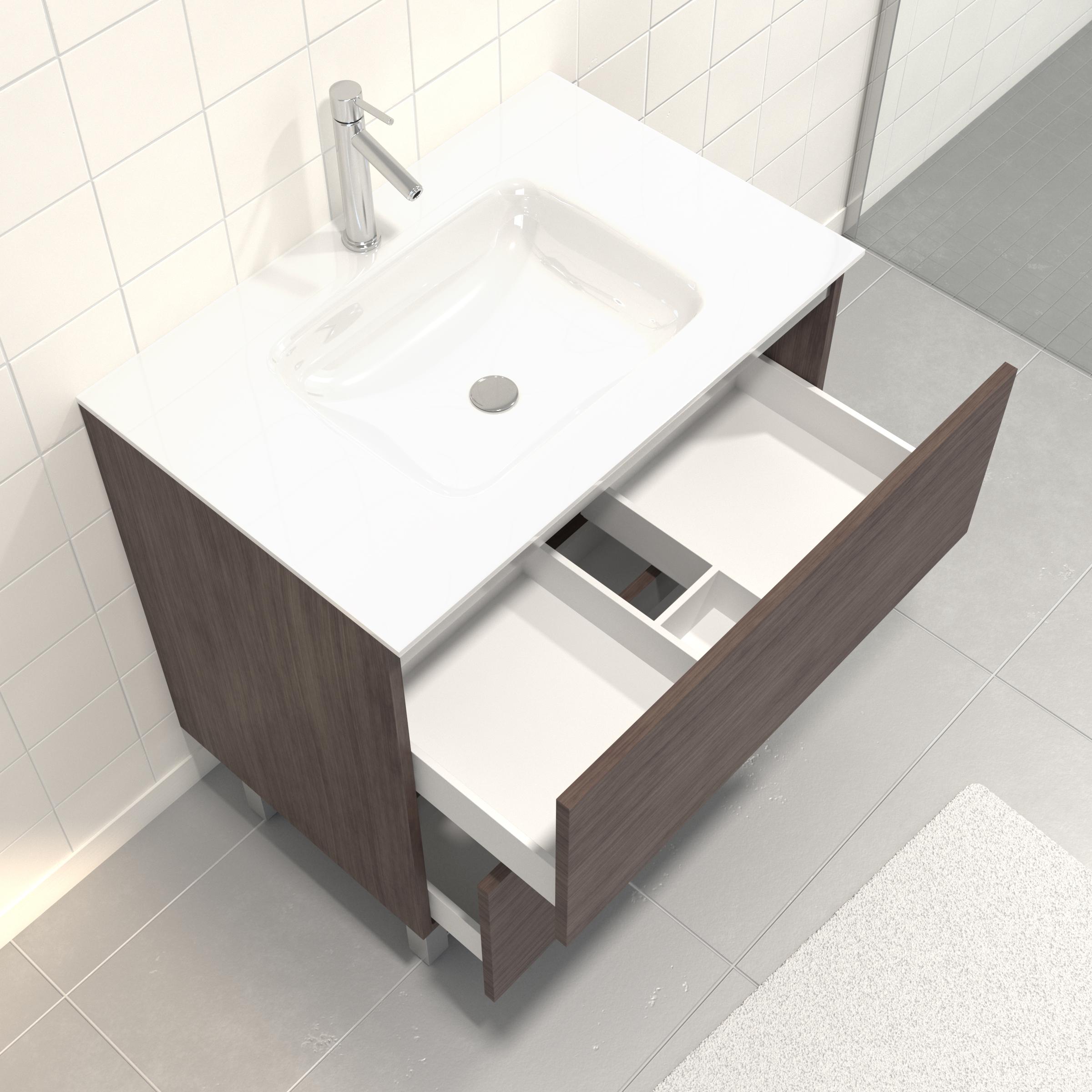 Pack Meuble de salle de bain 80x50 cm Graphite + vasque verre blanc + miroir LED 80x60