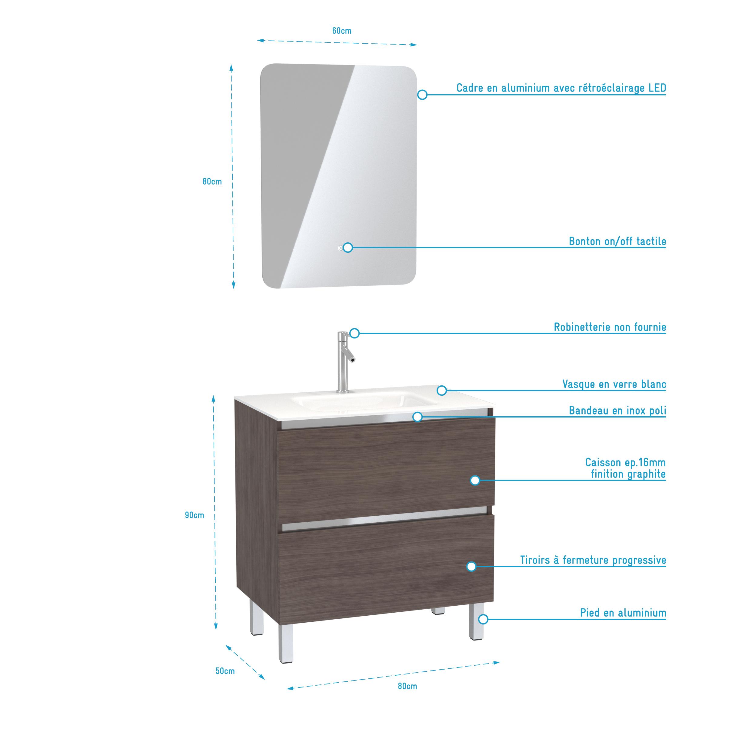 Pack Meuble de salle de bain 80x50 cm Graphite + vasque verre blanc + miroir LED 60x80