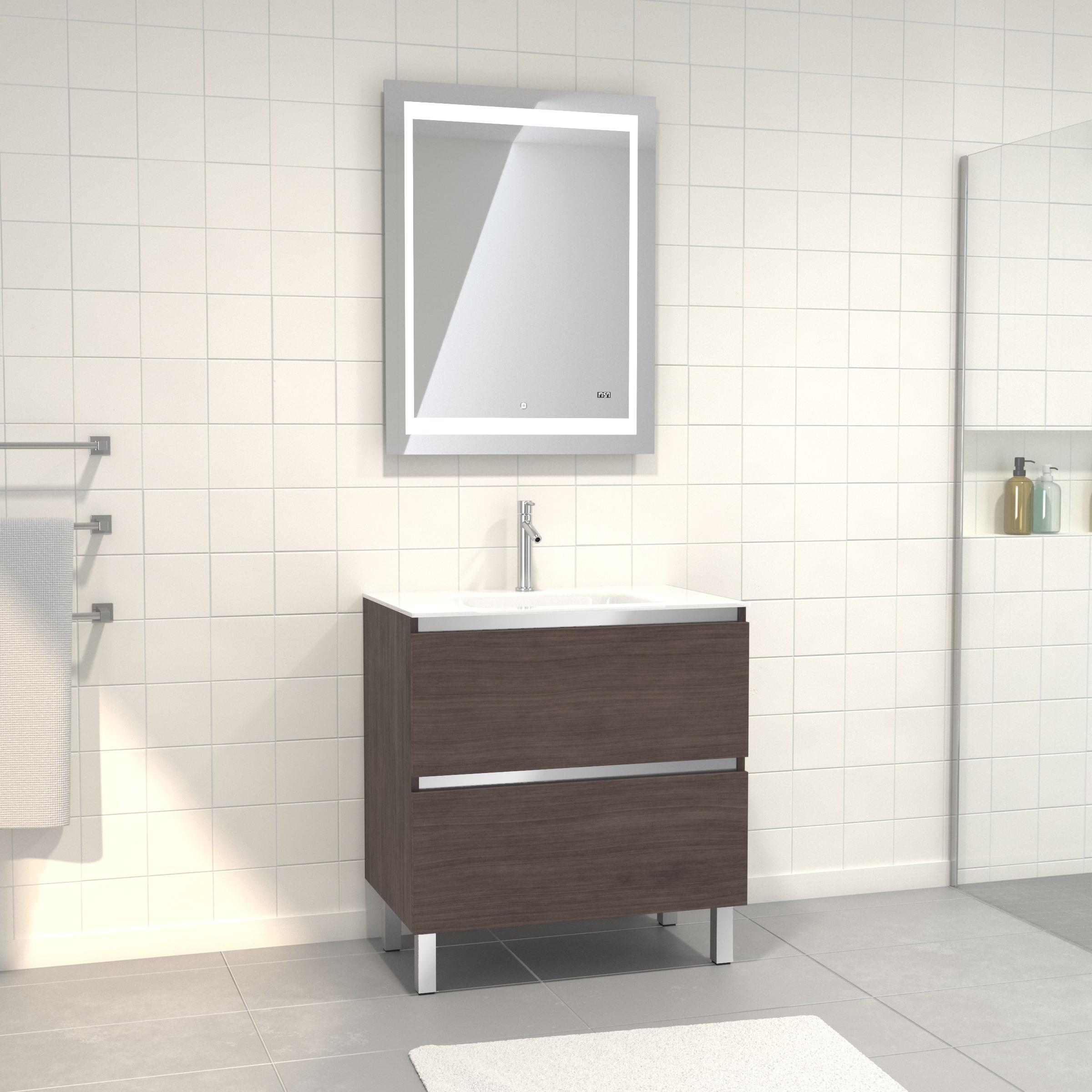 Pack Meuble de salle de bain 80x50 cm Graphite + vasque verre blanc + miroir LED 70x90