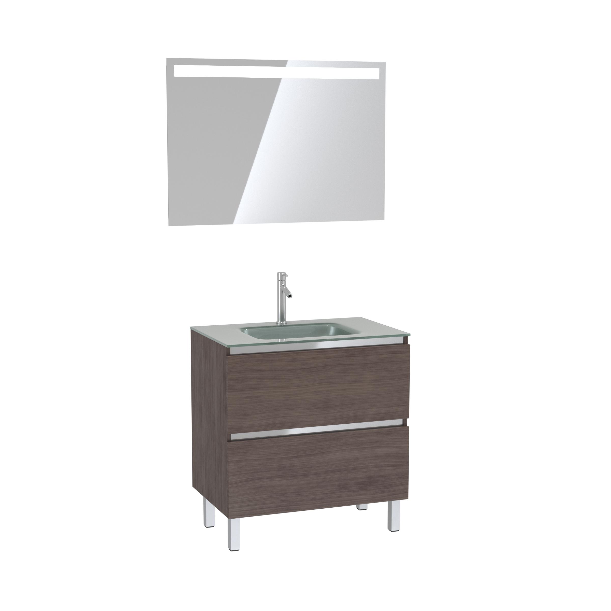 Pack Meuble de salle de bain 80x50 cm Graphite + vasque Argent + miroir LED 80x60