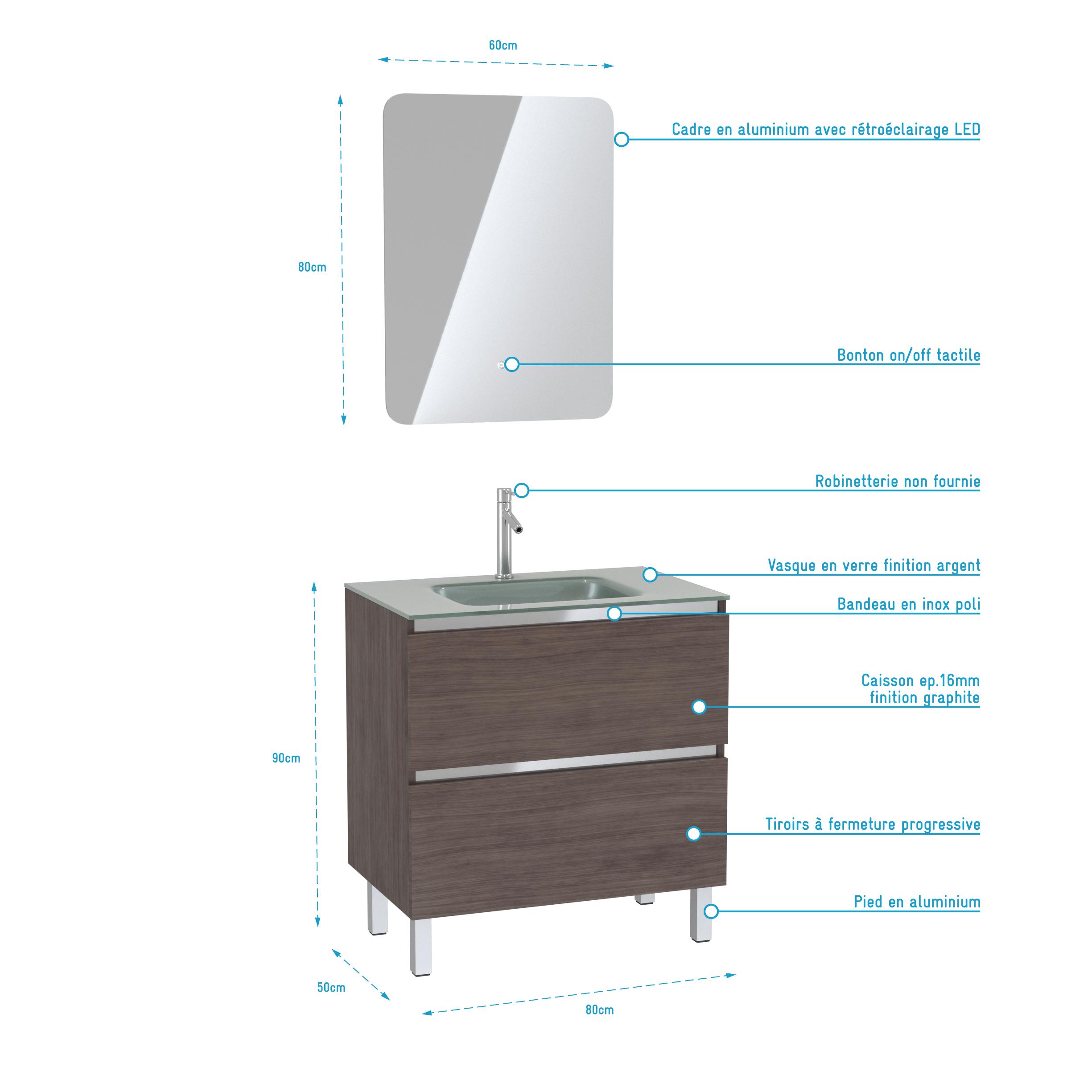 Pack Meuble de salle de bain 80x50 cm Graphite + vasque Argent + miroir LED 60x80