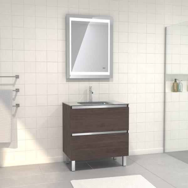 Pack Meuble de salle de bain 80x50 cm Graphite + vasque Argent + miroir LED 70x90