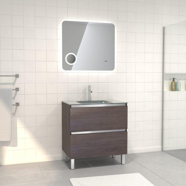 Pack Meuble de salle de bain 80x50 cm Graphite + vasque Argent + miroir LED 80x70