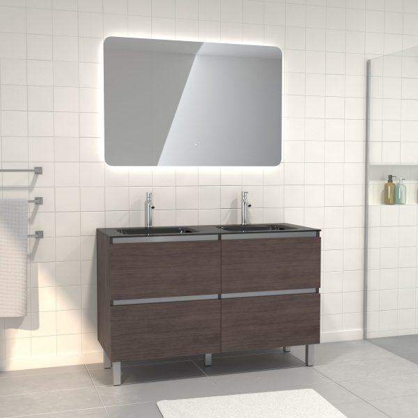 Pack meuble de salle de bain 130x50 cm finition Graphite + vasque Noir + Miroir LED 120x80