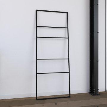 Porte serviette - 176x60x1.6 cm - Metal - noir mat - support serviette - type atelier - FACTO DARK