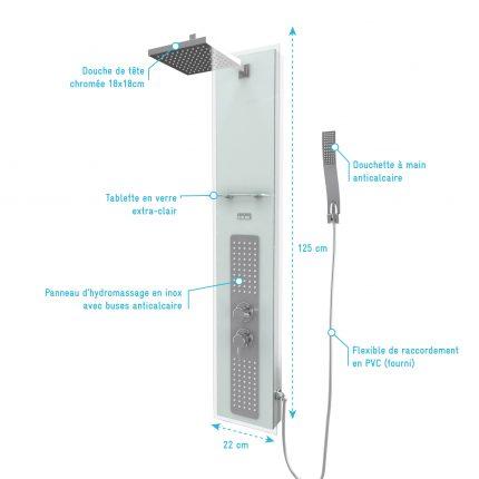 Colonnne de douche à hyrdomassage - 22x125cm - en verre trempé avec plaque inox - ALPHA WHITE