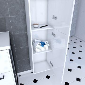 Colonne de salle de bain blanche 30x35x150 cm - 2 portes blanches poignees noir mat - STRUCTURA P015