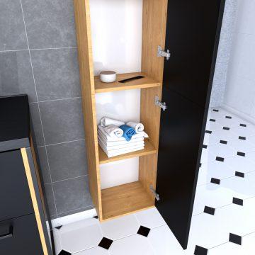Colonne de salle de bain chene brun 30x35x150 cm avec 2 portes et poignees noir mat - STRUCTURA P092