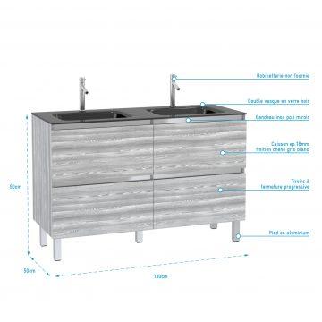 Pack Meuble de salle de bain 130x50 cm MDF Chêne gris blanc - 2 Tiroirs + vasque verre noir