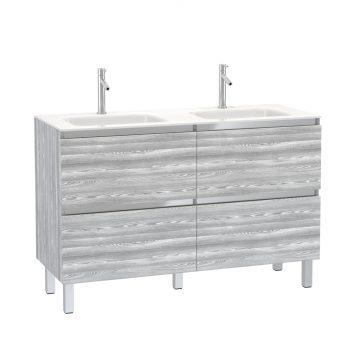 Pack Meuble de salle de bain 130x50 cm MDF Chêne gris blanc - 2 Tiroirs + vasque verre blanc