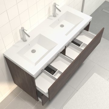 Pack Meuble de salle de bain 130x50 cm finition Graphite + vasque Argent