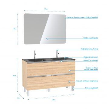 Pack Meuble de salle de bain 130x50 cm finition Chêne blond + vasque Noir + Miroir LED 60x80