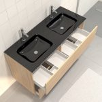 Pack meuble de salle de bain 130x50 cm finition Chêne blond + vasque noir + miroir LED 140x70