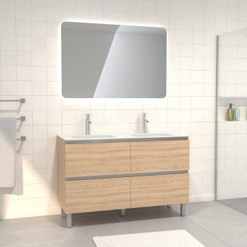 Pack meuble de salle de bain 130x50 cm finition Chêne blond + vasque verre blanc + Miroir LED 60x80