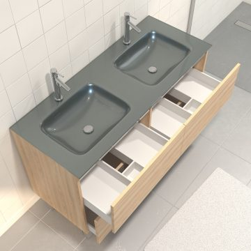 Pack meuble de salle de bain 130x50 cm finition Chêne blond + vasque Argent + Miroir LED 120x80