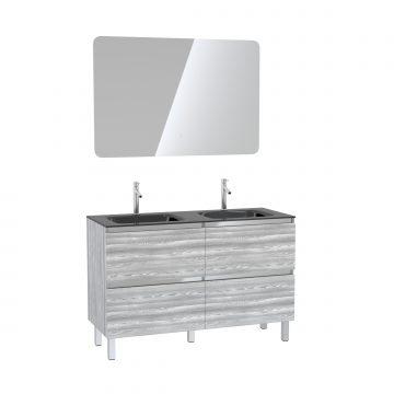 Pack meuble de salle de bain 130x50 cm Chêne gris-blanc + vasque Noir + Miroir LED 120x80