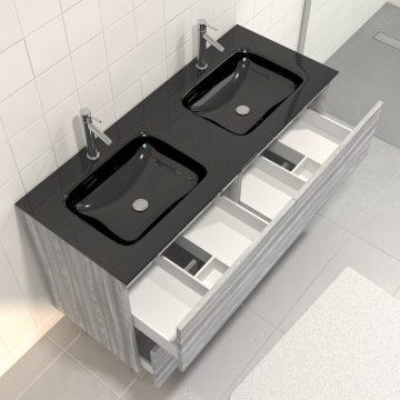 Pack meuble de salle de bain 130x50 cm Chêne gris-blanc + vasque Noir + Miroir LED 140x70