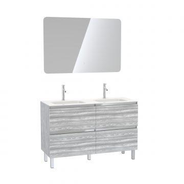 Pack meuble de salle de bain 130x50 cm Chêne gris-blanc + vasque blanche + Miroir LED 120x80