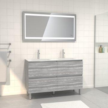 Pack meuble de salle de bain 130x50 cm Chêne gris-blanc + vasque blanche + Miroir LED 140x70