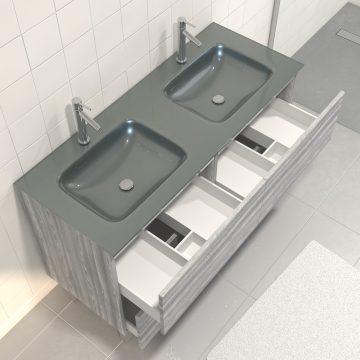 Pack meuble de salle de bain 130x50 cm Chêne gris-blanc + vasque Argent + Miroir LED 120x80