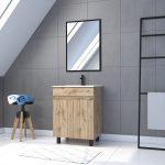 Meuble de salle de bain 60x80cm - 2 portes finition chene naturel + vasque + miroir - TIMBER 60