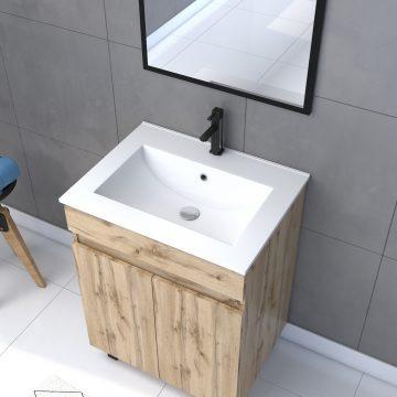 Meuble de salle de bain 60x80cm - 2 portes finition chene naturel + vasque + miroir - TIMBER 60