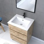 Ensemble de salle de bain 60x80 - Tiroirs finition chêne naturel + vasque céramique + miroir noir