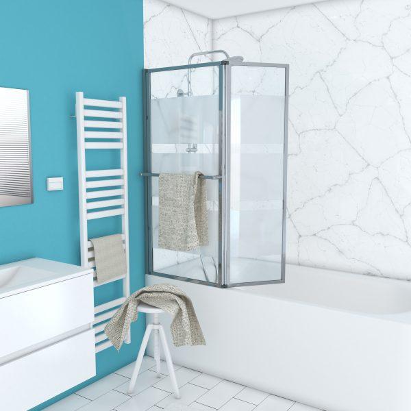 Pare baignoire relevable+volet 139x105-Profile aluminium chrome+verre transparent avec bande depolie