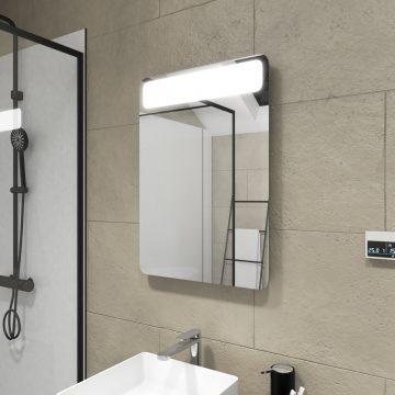 Miroir salle de bain LED à bandeau auto-éclairant - dim: 50x70x5cm - CLOUD