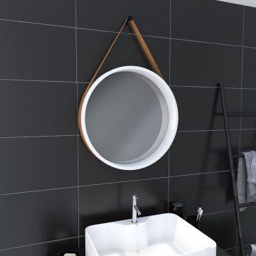 Miroir salle de bain rond type barbier - diamètre 50cm - BARBER WHITE