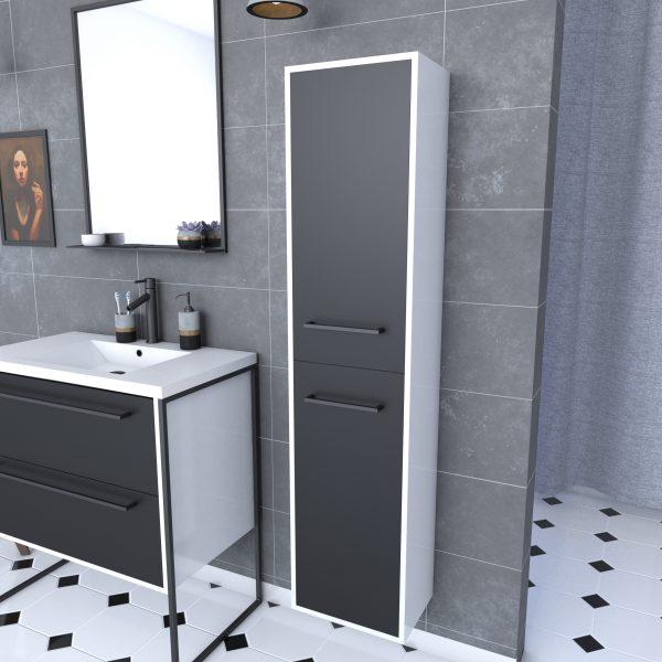 Colonne de salle de bain blanche 30x35x150 cm avec 2 portes et poignées noir mat - STRUCTURA P026