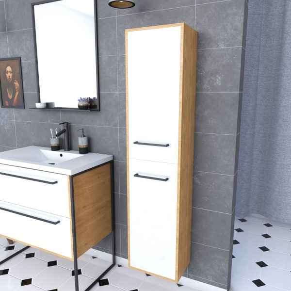 Meuble colonne de douche 30x35 cm suspendu - 2 portes  finition blanc mat