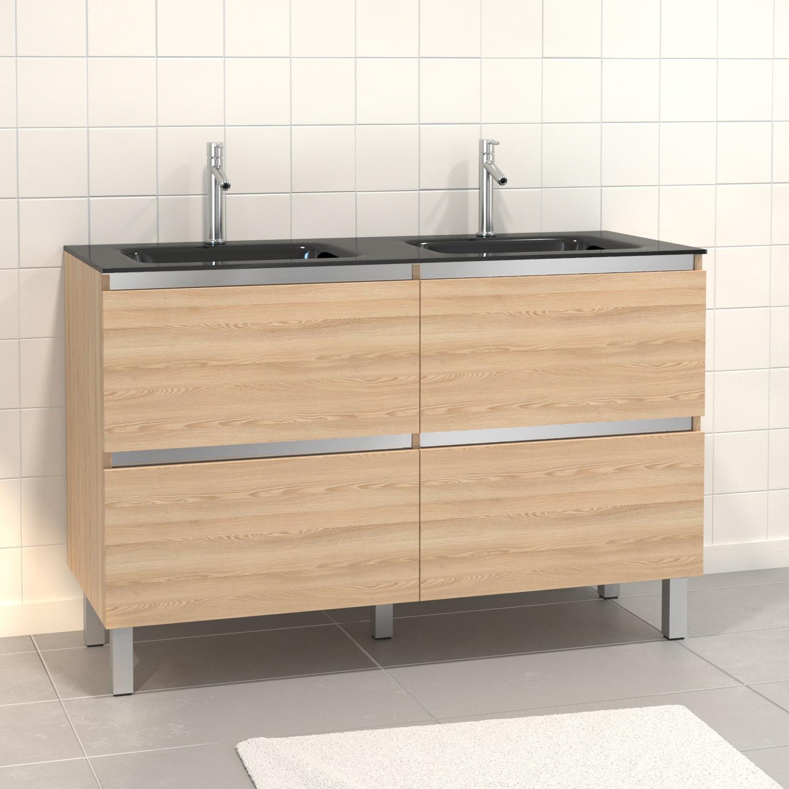 Pack Meuble de salle de bain 130x50 cm MDF Chêne blond - 2 Tiroirs + vasque verre noir