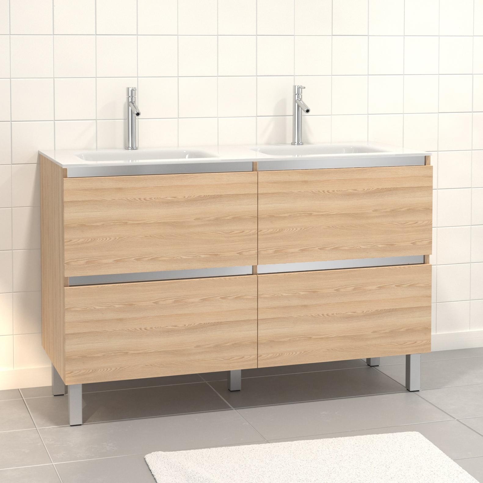 Pack Meuble de salle de bain 130x50 cm MDF Chêne blond - 2 Tiroirs + vasque verre blanc