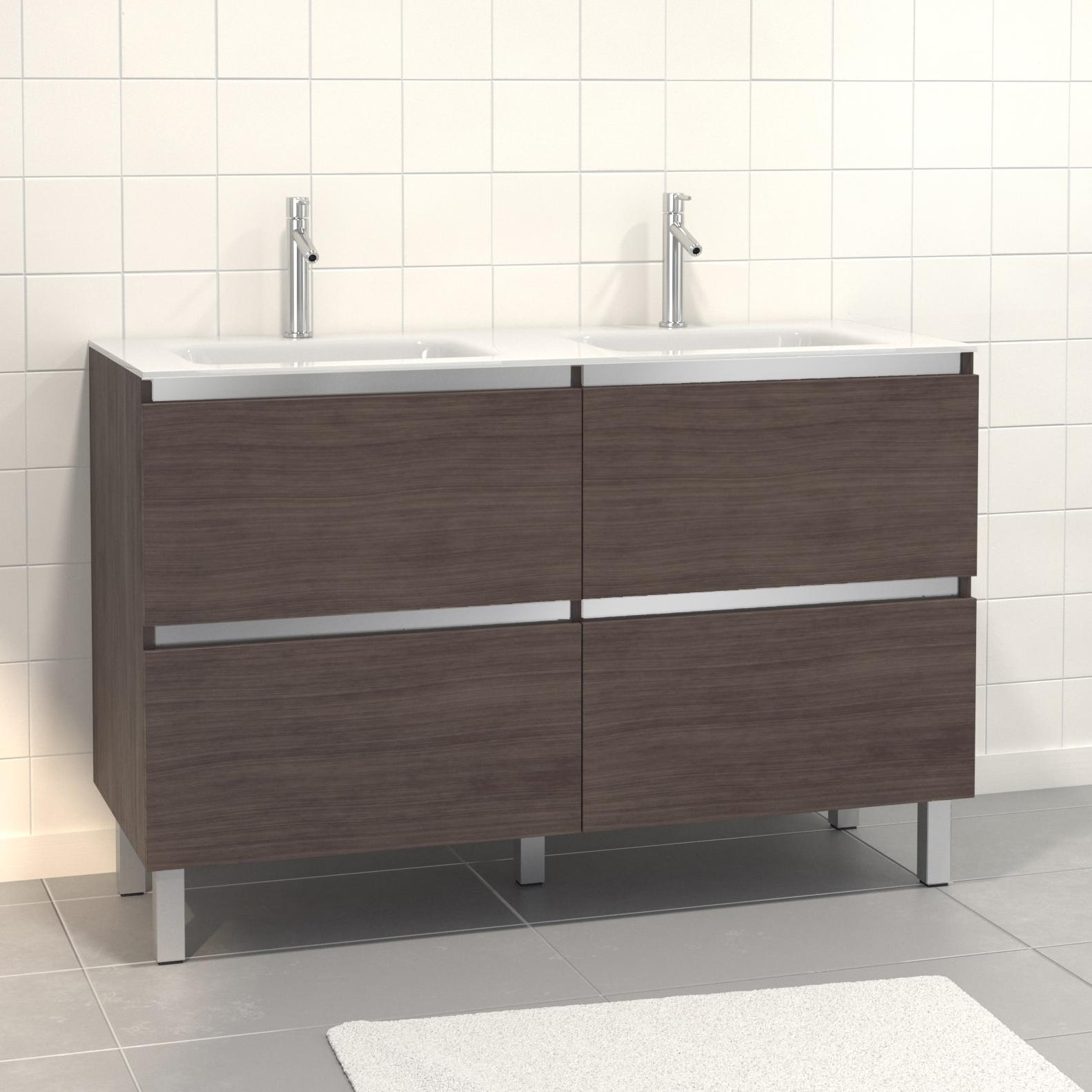 Pack Meuble de salle de bain 130x50 cm finition Graphite + vasque en verre blanc