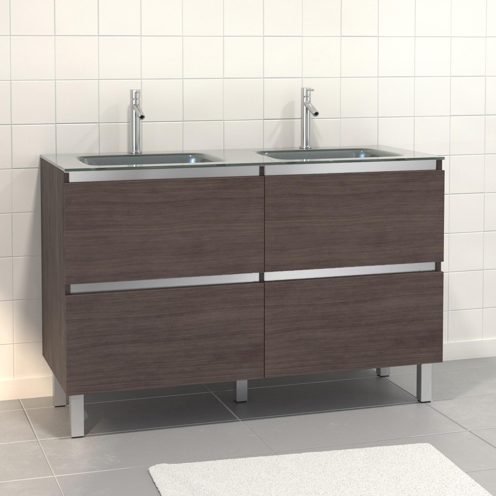 Pack Meuble de salle de bain 130x50 cm finition Graphite + vasque en Argent