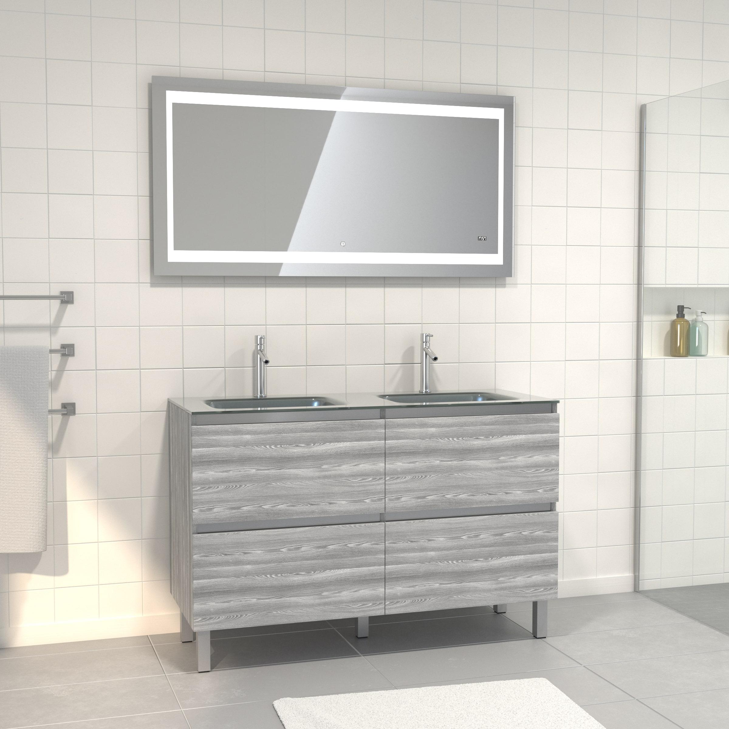 Pack meuble de salle de bain 130x50 cm Chêne gris-blanc + vasque Argent + Miroir LED 140x70