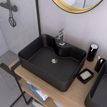 Vasque à poser rectangle en céramique noire - 48x37x13.5cm - RECTANGULAR DARK