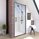 Paroi porte de douche a porte pivotante - dim: 80x200cm - PROFILE NOIR MAT - verre transparent 6mm
